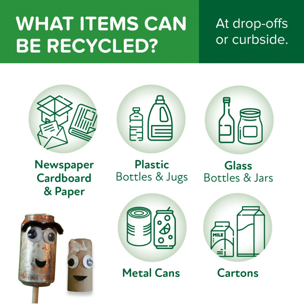 What items can be recycled: Newspaper, Cardboard, Paper, Plastic, Glass, Metal Cans, Cartons